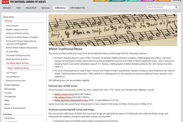 Welsh Traditional Music Collection in the National Library of Wales